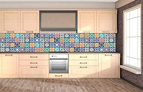 DIMEX LINE Küchenrückwand Folie selbstklebend AZULEJOS 350 x 60 cm   Klebefolie - Dekofolie - Spritzschutz für Küche   Premium QUALITÄT
