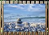 Wallario Garten-Poster Outdoor-Poster - Steinstapel am Strand in Premiumqualität, Größe: 61 x 91,5 cm, für den Außeneinsatz geeignet