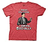 Archer Drink Socially Mens Red T-Shirt | L