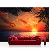 Vlies Fototapete 200x140 cm PREMIUM PLUS Wand Foto Tapete Wand Bild Vliestapete - CARIBBEAN SUNDOWN - Ornament abstrakt 3D Wand Rot Gelb Hintergrund - no. 117
