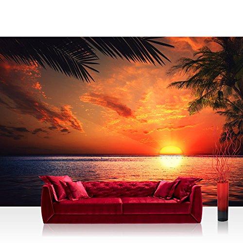 LIWWING Vlies Fototapete PREMIUM PLUS 300x210cmCARIBBEAN SUNDOWN by liwwing (R) | Vliestapete Tapeten Bild Ornament Sonnenaufgang