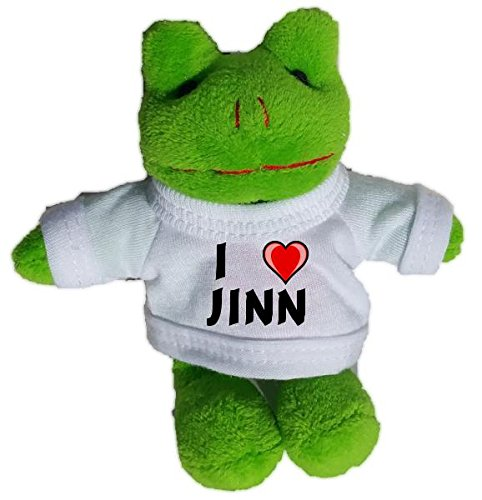 Frog Plush Keychain with I Love Jinn (first name/surname/nickname)