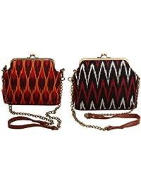 PITARA Fabric Women Classic Sling Bag (Pack Of 2, Orange & Black, P49_P50)
