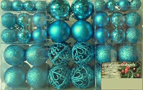 100 Weihnachtskugel Türkis glänzend glitzernd matt Christbaumschmuck bis Ø 6 cm Baumschmuck Weihnachten Deko Anhänger