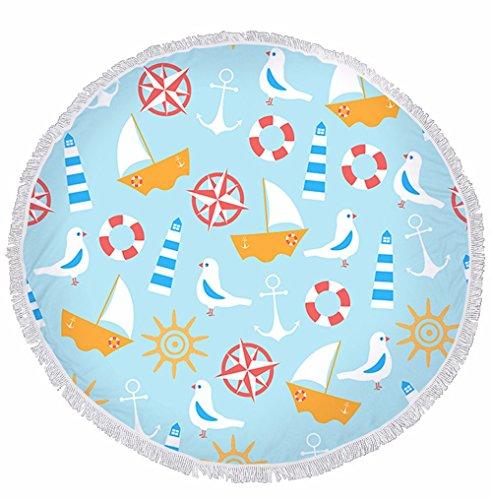 Xxszkaa/telo mare rotondo stampa stelle marine / stuoia da spiaggia decorativa con frange / tovaglia da casa / tappetino yoga, a3, 150 * 150 cm