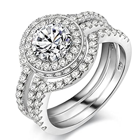 Newshe Ladies Ring Halo Design 3 Piece Round Cut Genuine 925 Sterling Silver Luxury Unique Wedding Engagement Bridal Ring Set Size