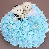 Almoha da RomáNtica En Forma De CorazóN del Anillo De Bodas de la Boda del Amortiguador de La Rosa con la Almohadilla Espuma Rose Amor Almohada de Anillo 25 * 25CM, Blue, 25 * 25cm