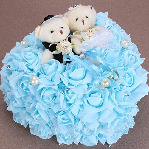 Coeur Romantique en Forme de Coussin de Rose Alliance Boîte de Bague de Mousse 25 * 25CM, Blue, 25 * 25cm