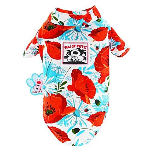 Lager Show Pet Hawaiian Shirt, 2018Bambus NewStyle Sommer Strand Weste Kurze Ärmel Haustier Kleidung Hund Top Floral T-Shirt Hawaiian Tops Hund Jacken Outfits für Hunde Katzen, XL-16, Rot - Bambus Ärmellose Bluse