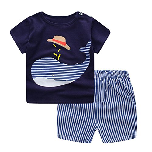 SHOBDW Boys Clothing Sets, Baby Girls Cartoon Whale Cat Airplane Penguin Short Sleeve Tops Shirt + Pants Summer Party Outfits Newborn Infant Gifts 51lkc3W7BsL