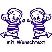 16 cm Babyaufkleber f/ür Zwillinge mit Wunschtext Motiv Z25-JM