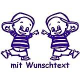 Babyaufkleber für Zwillinge mit Wunschtext - Motiv Z14-JJ (16 cm)