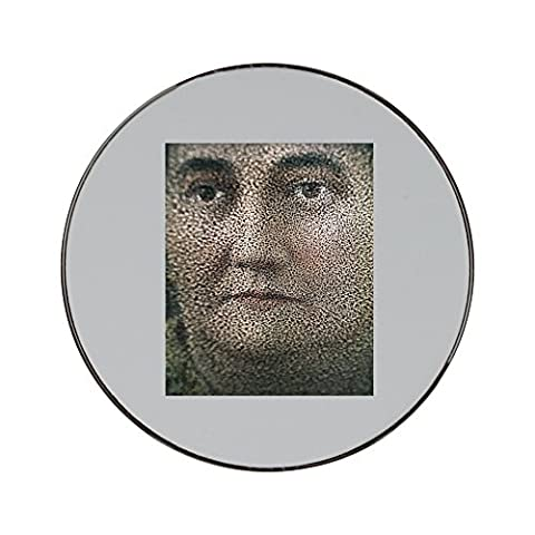 Metal round fridge magnet with Fuzzy portrait of a woman