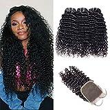 VIPbeauty 9A Tissage Brésilien Curly Wave 3 Trames Avec Closure 4 x 4 Free Part Non Transformés Extension De Cheveux Remy Naturel Couleur Pour Femme Noir