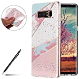 Marbre Coque Samsung Galaxy Note 8 , Coque Galaxy Note 8 Silicone Motif Marbre,Uposao Galaxy Note 8 Bling Sparkle Paillettes Housse Brillant de Protection Marbre Ultra-Mince Glitter Paillette TPU Silicone Souple Premium Hybrid Bumper Galaxy Note 8 Luxury Galvanoplastie Case Cover pour Homme Femme Fille avec Cadre Transparent View Protecteur Coque Anti Rayures Anti Choc Swag Shell Skin Extra Slim Couverture Etui pour Samsung Galaxy Note 8 - Série Mable;Rose+Blanc