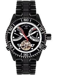 André Belfort 410162 - Reloj analógico de caballero automático con correa de acero inoxidable negra - sumergible a 50 metros
