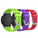 MoKo Pulsera para Samsung Galaxy Watch 46mm, [3-Pack] Pulsera de Silicona, Banda de Reloj de Silicona para Samsung Galaxy Gear S3 Classic/Frontier/Moto 360 2nd Gen 46mm - Rojo & Verde & Morado
