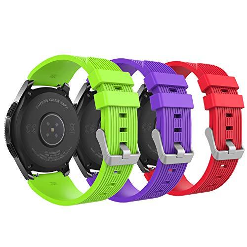 MoKo Armband für Samsung Galaxy Watch 46mm, Silikon Uhrenarmband Erstatzband mit Schließe für Samsung Galaxy Gear S3 Classic/Frontier/Moto 360 2nd Gen 46mm Smart Watch - Rot & Grün & Violett