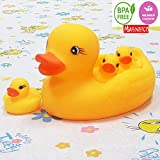 MAGNIFICO Squeeze Chu Chu Sound Bathtub Toys for Toddler Kids (4 PC Duck Family)