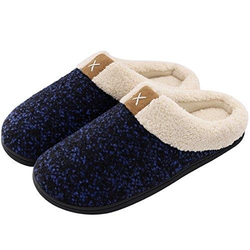 81035c659 Men s Comfort Memory Foam Slippers Wool-Like Plush Fleece Lined House Shoes  w Indoor