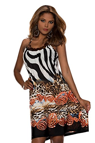 Fashion4Young 5361 robe robe dos nu au look 3 coloris disponibles taille 36/38 - Dunkelorange Multicolor