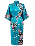 HonourSport Donna accappatoi Peacock Kimono lunghi vestaglia giapponese Robe abito più Silk Size XXL (italiana Taglia 48) Blu