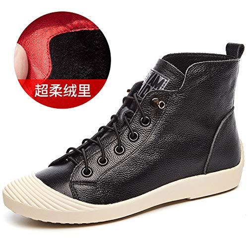 HOESCZS Stiefel Martin Hohe Schuhe Frau Rot Herbst Leder Flache Sportschuhe Mode Reines Leder Stiefel Weiße Schuhe, Schwarz, 37