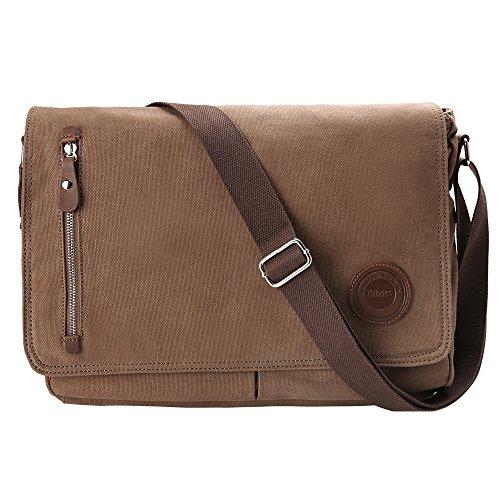 Besten Laptop Messenger-taschen (Gibgas 15,6 Zoll Canvas Umhängetasche Herren Laptoptasche Arbeitstaschen Schultertasche Messenger Bag für Arbeit Büro Studenten mit Laptopfach (Braun))