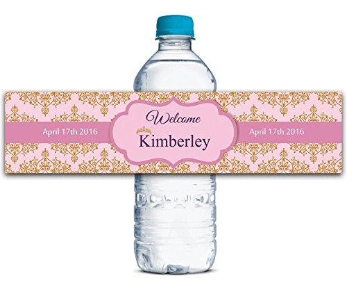 Kundenspezifische Hochzeit Wasserflasche Etiketten Wasserdicht Krone Thema Selbstklebendes Aufkleber 8