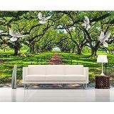 Personalizzato 3D Wallpaper Murale Naturale Verde Paesaggio Albero Passerella Bianco Piccione Murale 3D Carta Da Parati Papel De Parede Beibehang Decorazione Di Mobili (W)200x(H)140cm