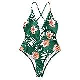 ZAFUL Bikini Donna Costumi da Bagno Imbottiti Bechwear in Costume da Bagno Foreale Vintage (S, Verde Mare)
