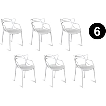IBH DESIGN Lot 6 Chaises Miami Blanches Inspiree Masters