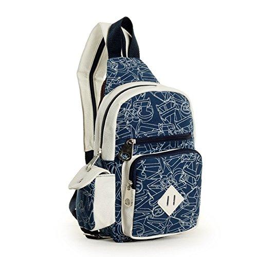Sincere® Sac en toile / Messenger sac loisirs / sport sac de poitrine / extérieur petit bleu sac à dos-Marine