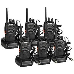 Baofeng BF-88E Radio sans Talkie-walkie PMR 446 avec Casque (6 pcs+1 câble de Programmation)