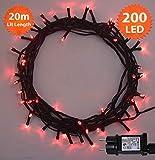 Weihnachts-Lichterketten 200 LED Rot Baum-Lichter Innen- und im Freiengebrauch Weihnachtsschnur-Lichter Gedächtnisfunktion, Netzbetriebene - Grünes Kabel