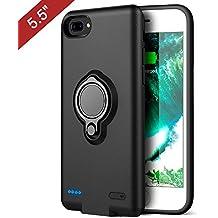 iPhone 6 plus/6s plus/7 plus Funda Bateria, BSAMZ 3700mAh portátil delgado Slim caja de batería Lightning cable de entrada modo con soporte Kickstand soporte magnético del coche (5,5 pulgadas) Negro