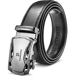 BOSTANTEN Ledergürtel Herren/Junge Schnalle Büffel Leder Gürtel Automatik Jeans Belt Schwarz, Länge 115CM.Geeignet für 33-35 Taille., 1-schwarz