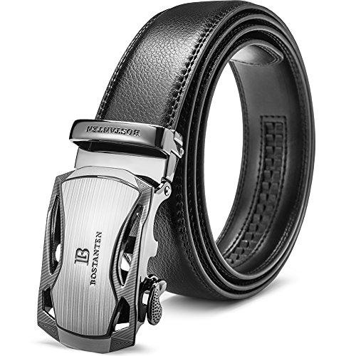 BOSTANTEN Ledergürtel Herren/Junge Schnalle Büffel Leder Gürtel Automatik Jeans Belt Schwarz, Länge 115CM.Geeignet für 33-35 Taille., 1-schwarz (Herren Gürtel Schnallen)