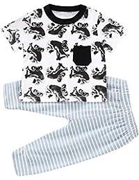 feiXIANG Neonato Bambino Bambine Costume a Manica Corta Vestiti Tops  T-Shirt Koala dei Cartoni Animati + Pantaloni a Righe Abbigliamento da… d7f5596ff33