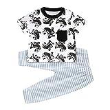 JiaMeng Neugeborenes Baby Mädchen Jungen Kinder Kurzarm Tasche Cartoon Koala T-Shirt Gestreifte Hose Set