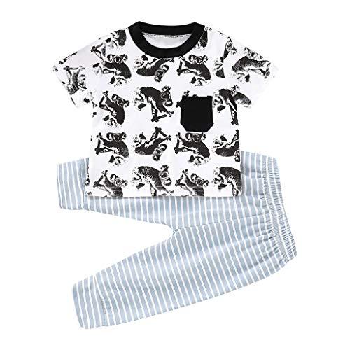 (JiaMeng Neugeborenes Baby Mädchen Jungen Kinder Kurzarm Tasche Cartoon Koala T-Shirt Gestreifte Hose Set)