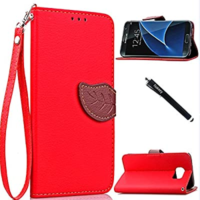 Case for Samsung S7 Edge,Galaxy S7 Edge Case,Nakeey [Leather Leaf] Protective Case Flip Cover with Card Slots for Samsung Galaxy S7 Edge