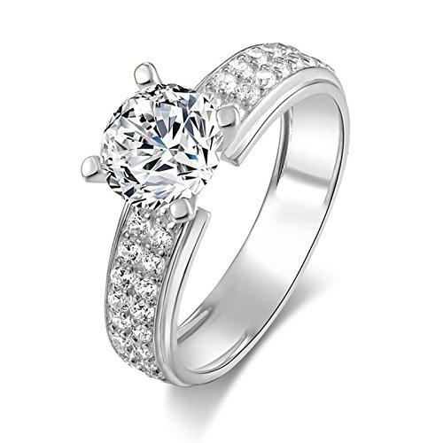 AmDxD Schmuck 925 Silber Damen Heiratsantrag Ring Halo 4 Prong Weiß Cubic Zirkonia Braut Eheringe Gr.61 (19.4) - Und Ring Aquamarin Diamant Halo