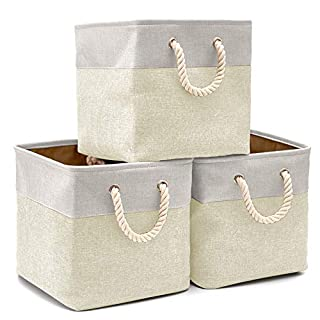 EZOWare Collapsible Storage Cube Basket [3-Pack] Foldable Canvas Fabric Tweed Storage Bin Set with Handles for Home Office Closet (33 x 33 x 33cm) (Cream)
