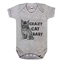 Crazy CAT Baby Baby Grow By BritTot Girls Boys Unisex Funny Bodysuit 6/12