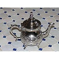 Oriental marroquí té puede metal plateado para té de menta
