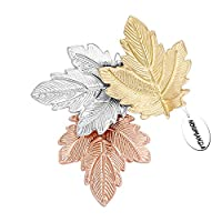 NOUMANDA Women Bijoux Autumn Leaf Jewelry Three Maples Leaves Brooch Pin (maple leaves)