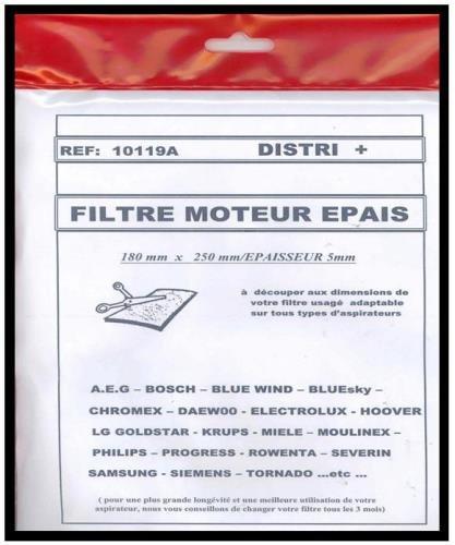 FILTRE A AIR EN MOUSSE NOIR(180/250 mm) EPAISSEUR 10MM