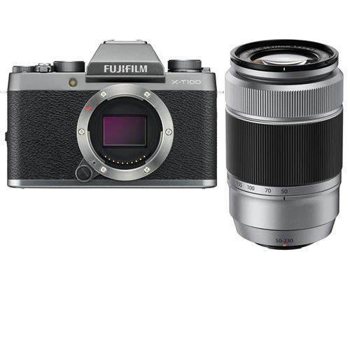 Fujifilm X-T100 Mirrorless Digital Camera Body, Dark Silver - with XC 50-230mm (76-350mm) F4.5-6.7 OIS II Lens Silver