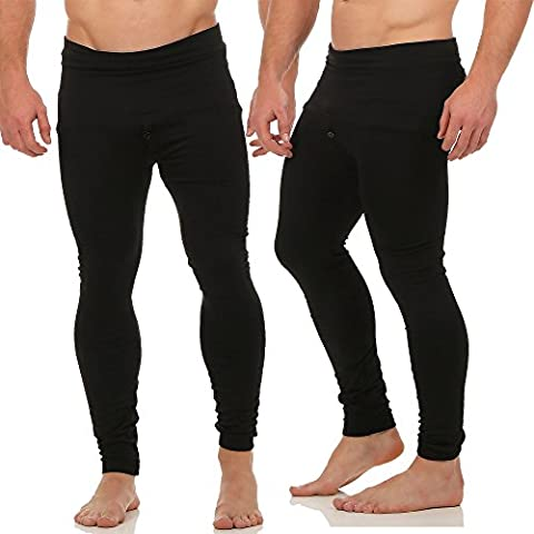 1er und 2er Pack lange Herren Thermo Unterhose Pants mit Innenfleece warme Unterwäsche CL 1919 (Black 1er Pack)